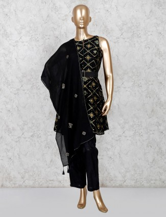 Black cotton printed pant style salwar suit