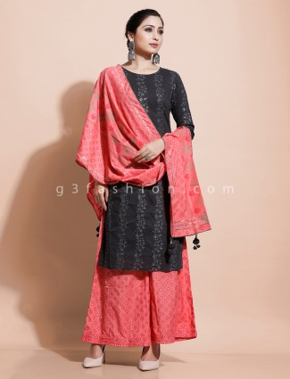 Black cotton round neck palazzo set