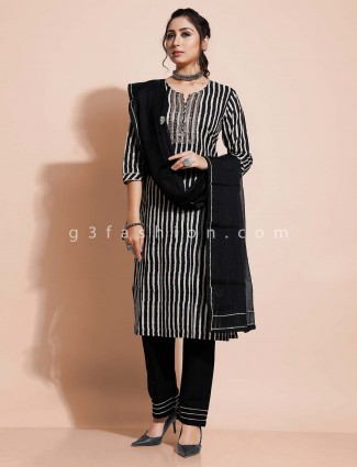 Black cotton salwar kameez for festivals