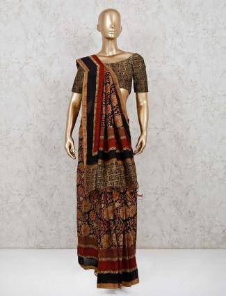 Black cotton saree for festive wear