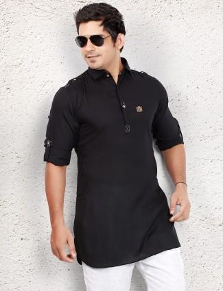 Black cotton short pathani