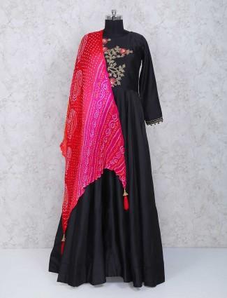 Black cotton silk fabric floor length anarkali suit