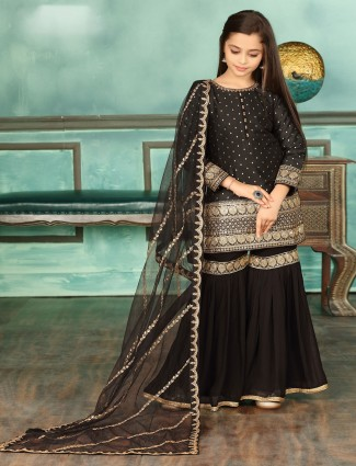 Black cotton silk fabric punjabi sharara suit