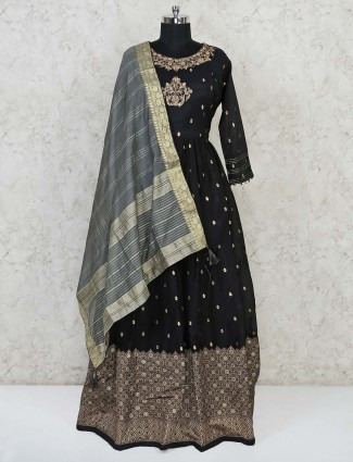 Black cotton silk festive wear anarkali suit