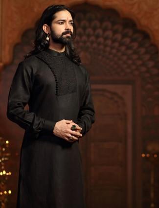 Black cotton silk kurta suit for party function
