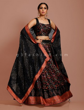 Black cotton silk party lehenga choli