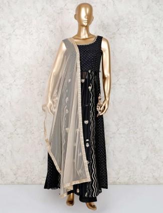 Black cotton silk party wear palazzo suit