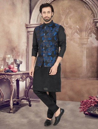 Black cotton silk party wear waistcoat set