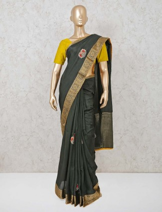Black cotton silk saree with handwork buttas