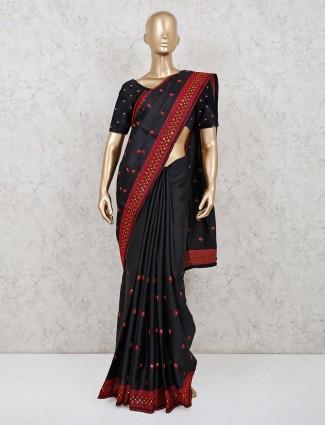 Black cotton silk saree with matching pallu