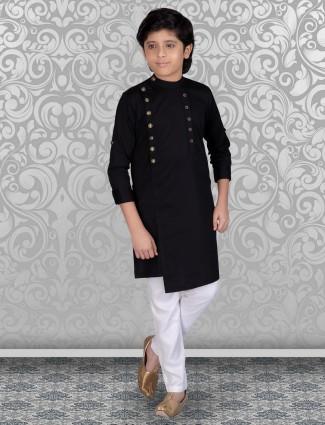 Black cotton solid festive function kurta suit