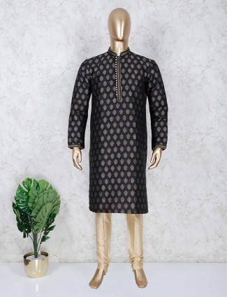 Black cotton stand collar kurta suit for festive