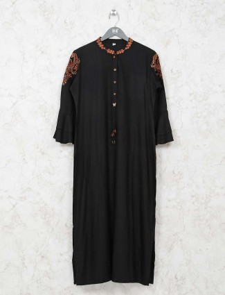 Black cotton thread work kurti