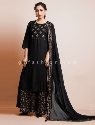 Black cotton thread work party wear salwar suit