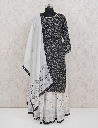 Black cotton thread work punjabi lehenga suit