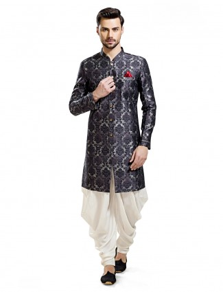 Black cream silk wedding wear kurta suit
