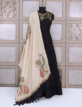 Black designer anarkali suit for party function