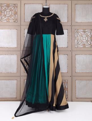 Black designer anarkali suit in silk fabric
