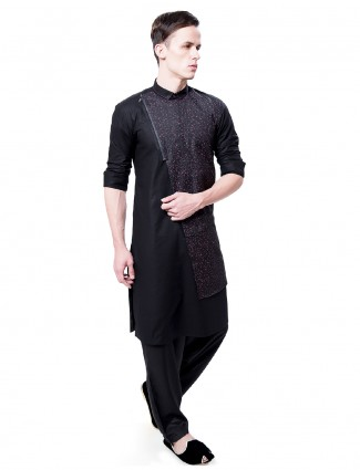 Black designer cotton silk kurta suit