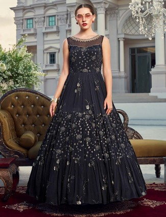 Black designer floor length anarkali suit in georgette