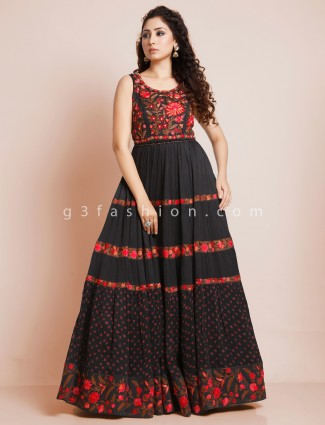 Black designer georgette anarkali suit