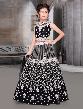 Black designer net wedding wear lehenga choli