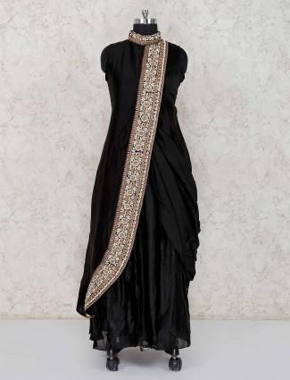Black designer party wear cotton silk suit
