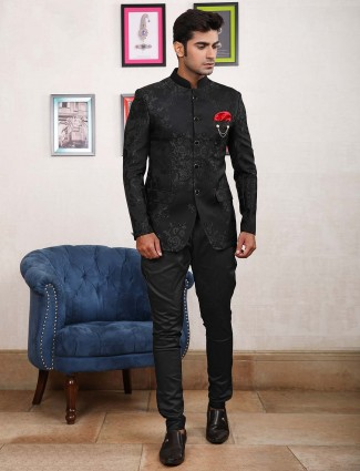 Black designer partywear jodhpuri suit