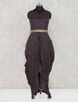 Black designer printed salwar suit