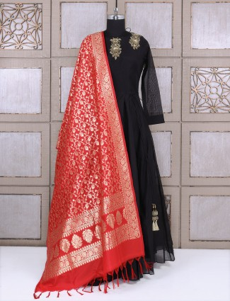 Black designer silk anarkali suit for party function