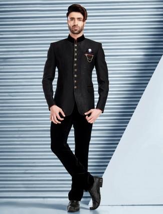 Black designer terry rayon jodhpuri suit