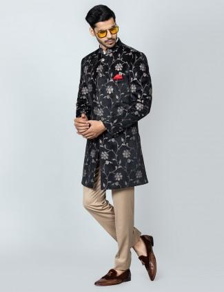 Black designer velvet party indo western