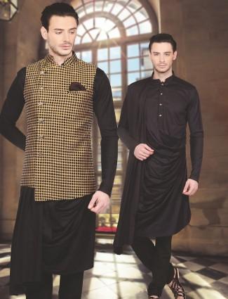 Black designer waistcoat set in silk fabric