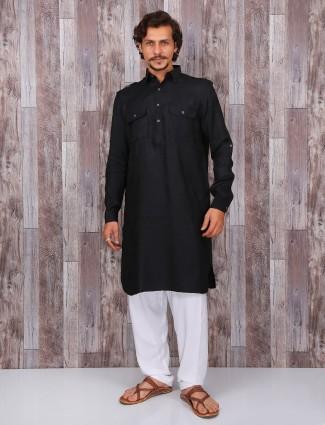 Black festive cotton pathani suit