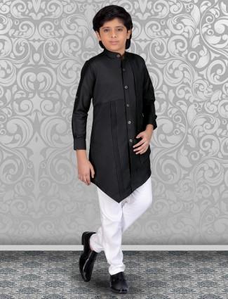 Black festive wear cotton solid kurta suit