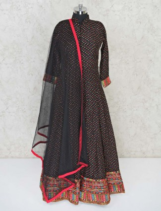 Black floor length anarkali with matching dupatta in cotton silk for wedding