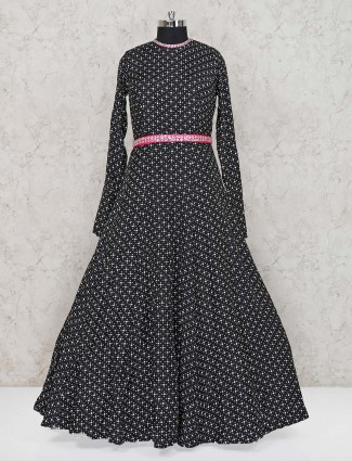 Black floor length cotton printed anarkali suit