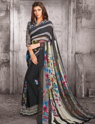 Black georgette casual wear saree