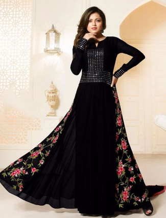 Black georgette designer suit