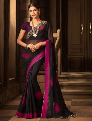 Black georgette fabric saree for party function