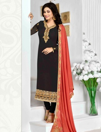 Black georgette festive wear semi stitched salwar suit