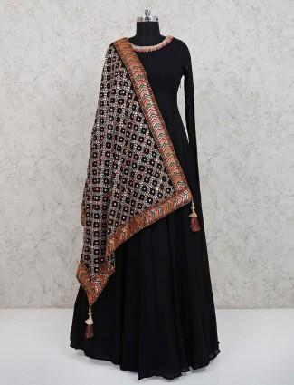 Black georgette floor length anarkali suit for festive