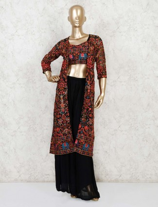 Black georgette indo western suit for party wear