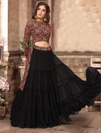 Black georgette layer style party wear lehenga choli