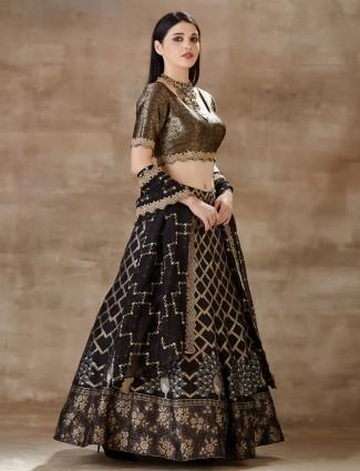 Black georgette lehenga choli with zari weaving
