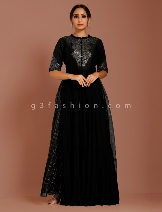 Black georgette party function anarkali suit