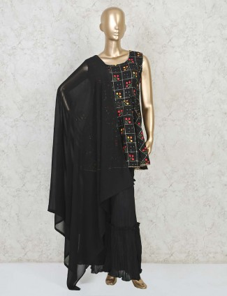 Black georgette punjabi sharara suit for festive