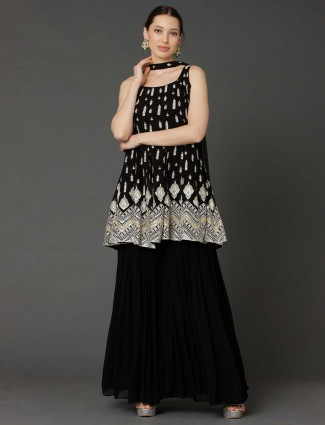 Black georgette punjabi sharara suit for party