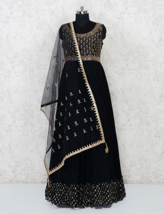 Black georgette wedding anarkali salwar suit