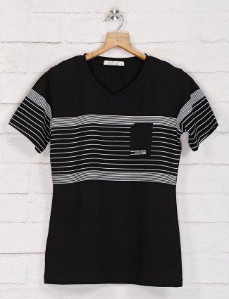 Black graphic casual top in cotton